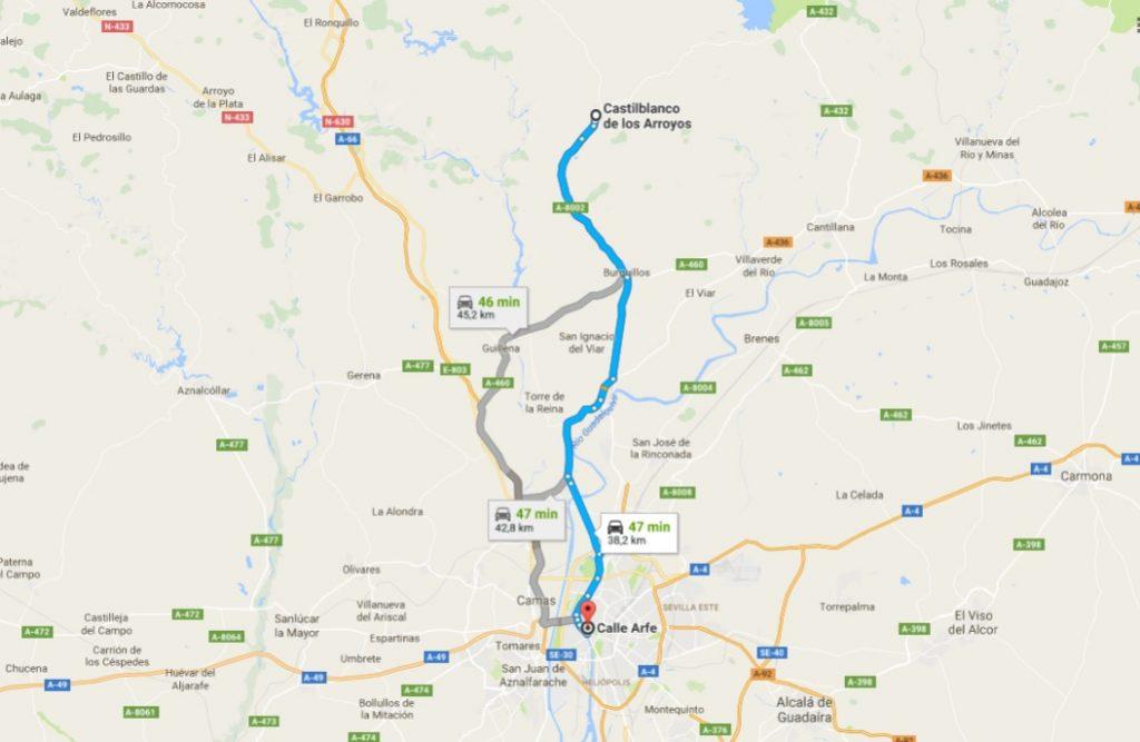 Google Maps Sevilla Castilblanco de los Arroyos